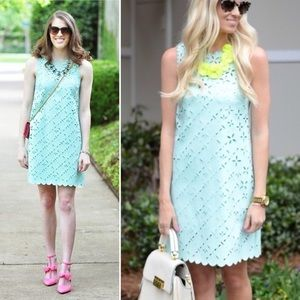 J. Crew Laser Cut Floral Mint Shift Dress Size 6